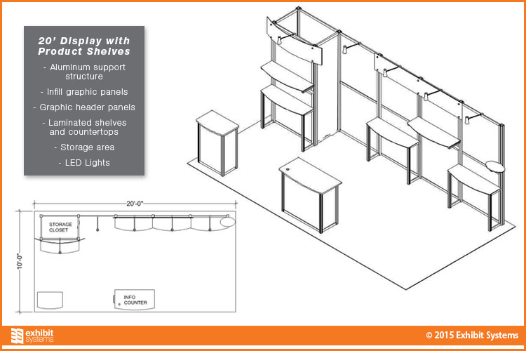 10x20 Rental Exhibit with Product Shelves Diagram